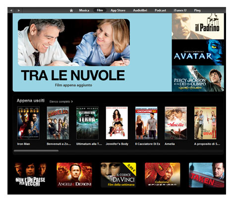 iTunes Movie Store apre ufficialmente in Italia: gia' acquistabili film con iPhone ed iPad