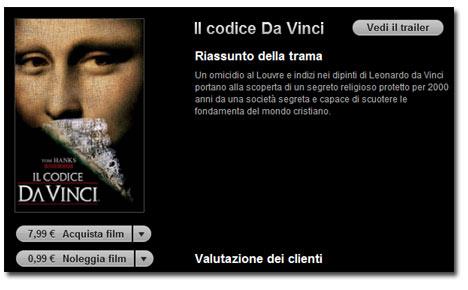 iTunes Movie Store: Apple designa Il Codice da Vinci come film della settimana