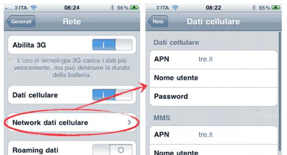 iPhone: aggiornamento operatore 3 Italia che consente di cambiare manualmente l'APN