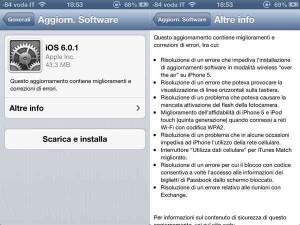 iOS 6.0.1 arriva l'aggiornamento