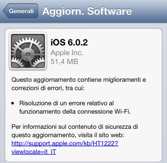 Disponibile iOS 6.0.2 per iPhone 5 e iPad Mini